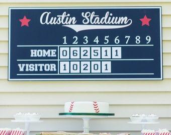 Baseball Scoreboard (Baseball Birthday, Baseball Party Sign, Baseball Party Printables, Boys, Baseball Poster, Red and Navy Blue)