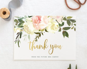 PRINTED Set of 10 Floral Bridal Shower Thank You Cards Future Mrs