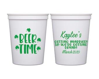 Patty/'s Day Stadium Cups St Shamrock Patrick/'s Day Personalized Stadium Plastic Cups Irish Favor Kiss Me I/'m Irish Irish Wedding St