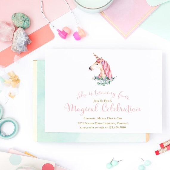 Unicorn Birthday Invitation Watercolor