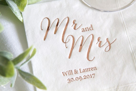 Mr And Mrs Personalized Wedding Napkins Rehearsal Dinner Engagement Party Custom Bar Napkins Custom Wedding Napkins By Rubi And Lib Design Studio Catch My Party