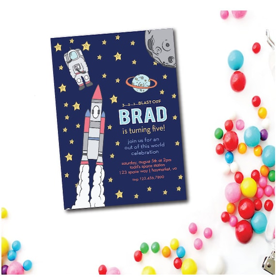 Space Rocket Birthday Invitation 5x7 Invitations