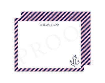 Personalized Pink and Navy Nautical Christmas Thank You Cards, Anchor Thank You, Anchor Note Card, Christmas Thank You