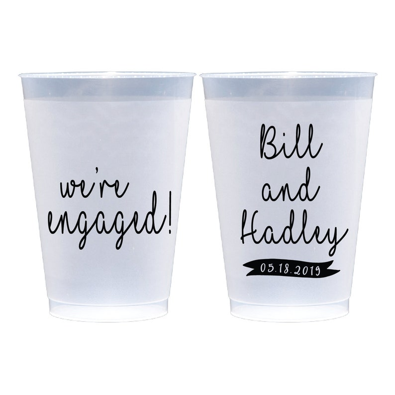 We/'re Engaged Personalized Wedding  Bridal Shower Rehearsal Dinner  Bachelorette Shatterproof Plastic Cups Save the Date