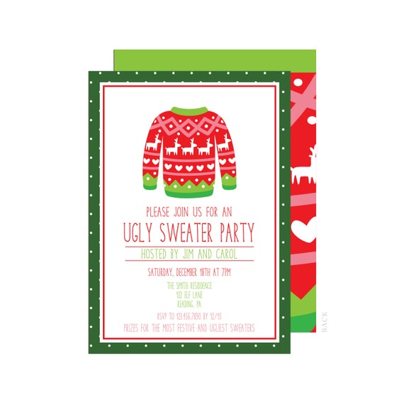 graphic relating to Printable Holiday Party Invitations known as Unpleasant Sweater Xmas Get together Invitation - Xmas