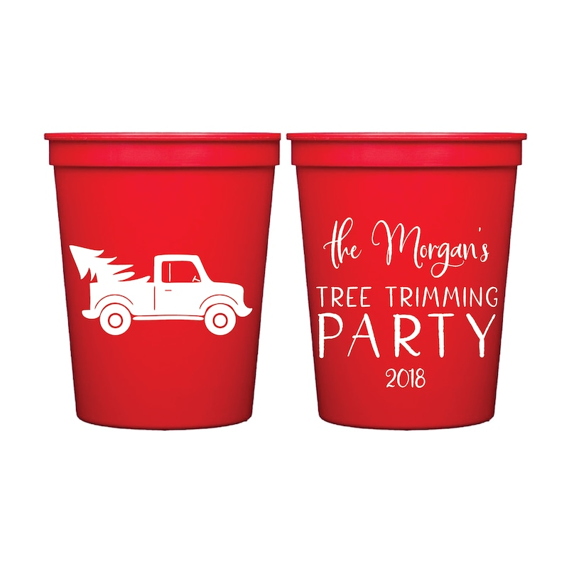 Holiday Cocktail Personalized Christmas Stadium Cup Tree Decorating Family Christmas Party Christmas Cup Tree Trimming Party Cup