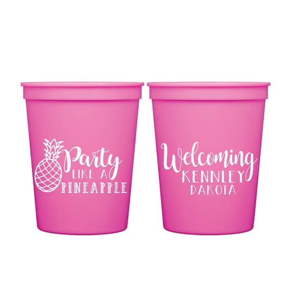 3e337c4b8b1 Party Like a Pineapple Personalized Stadium Plastic Cups - Baby Shower  Stadium Cups - Pineapple Shower- Tropical Shower, Welcome Baby