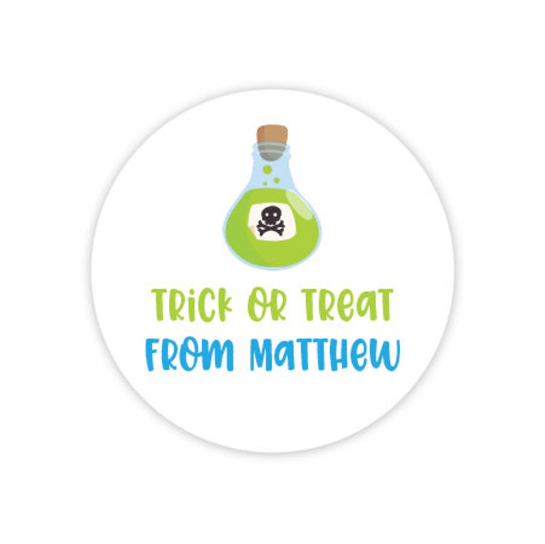 Happy Halloween Decor, Printed Halloween Stickers, 2 inch stickers, Trick or Treat Spooky Lab Personalized Halloween Party Stickers