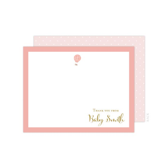 Personalized Oh The Places She Ll Go Thank You Cards Baby Girl