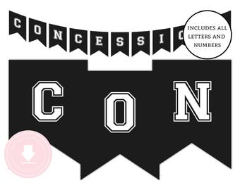 INSTANT DOWNLOAD Baseball Concessions Banner (Black and White Baseball Banner, Baseball Party, Sports, Printable Birthday Banner)