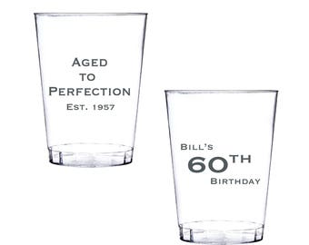 Aged to Perfection Birthday Plastic Party Cups - 60th birthday - Personalized Cup - Clear Plastic