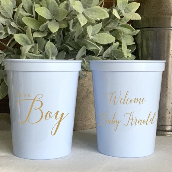 4ff2275c537 It's a Boy, Welcome Baby Personalized Stadium Plastic Cups - Baby Shower  Stadium Cups - Shower Favor