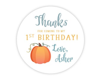 Personalized Little Pumpkin Party Stickers (Pumpkin Birthday Decor, Printable Party Circles, Printable Pumpkin Decor, 2 inch stickers)