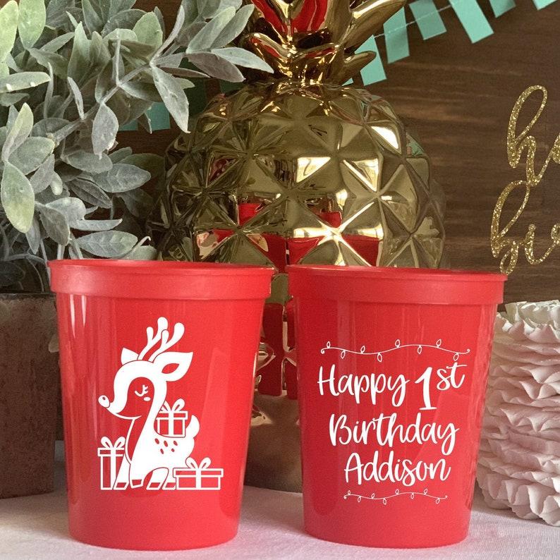 Birthday Party Birthday Favor Party Favor Winter ONEderland First Birthday Stadium Cups Christmas Deer Birthday Stadium Plastic Cups