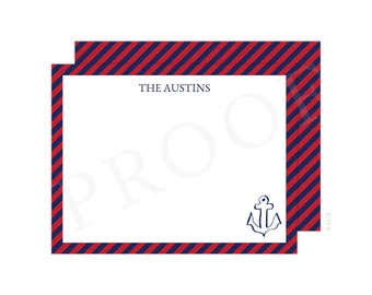 Personalized Red and Navy Nautical Christmas Thank You Cards, Anchor Thank You, Anchor Note Card, Christmas Thank You