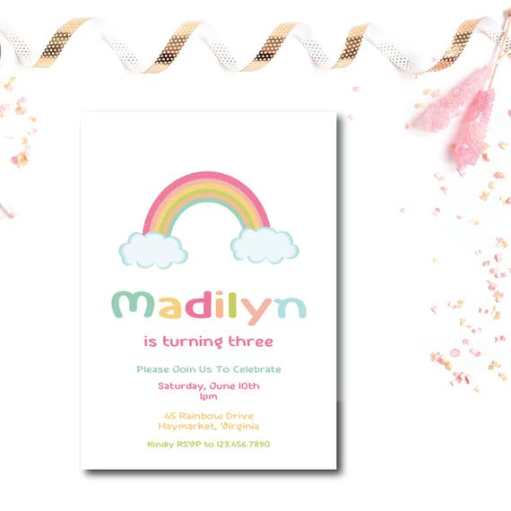 rainbow birthday invitation 5x7 birthday invitations printed or