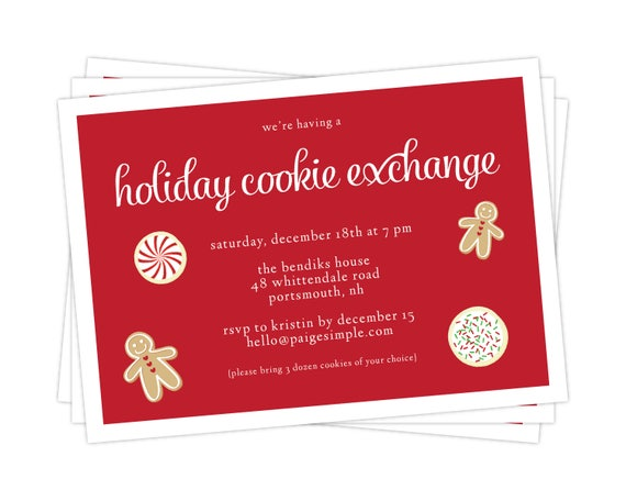 graphic regarding Free Printable Holiday Invitations identify Cookie Change Celebration Invitation - Xmas Invitation