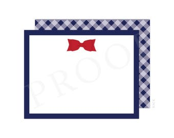 Navy Christmas Thank You Cards, Red Bow Thank You Card, Anchor Note Card, Christmas Thank You