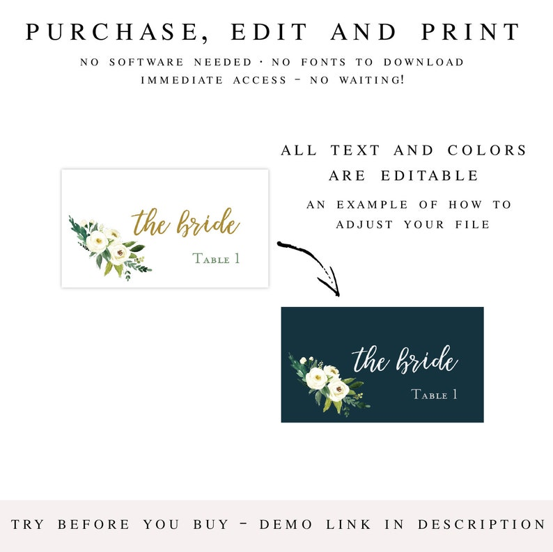 Burgundy Floral Place Card Template 2 x 3.5 Escort Card Template INSTANT DOWNLOAD Shower Place Cards Printable Escort Cards