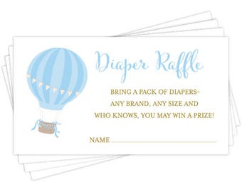 Oh The Places He'll Go Diaper Raffle Insert Card - 2x3.5  Baby Shower Card Insert - Hot Air Balloon Baby Shower Printable