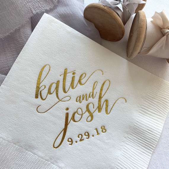 Custom First Name Wedding Napkins  Rehearsal Dinner  Engagement Party   Custom Bar Napkins  Custom Wedding Napkins