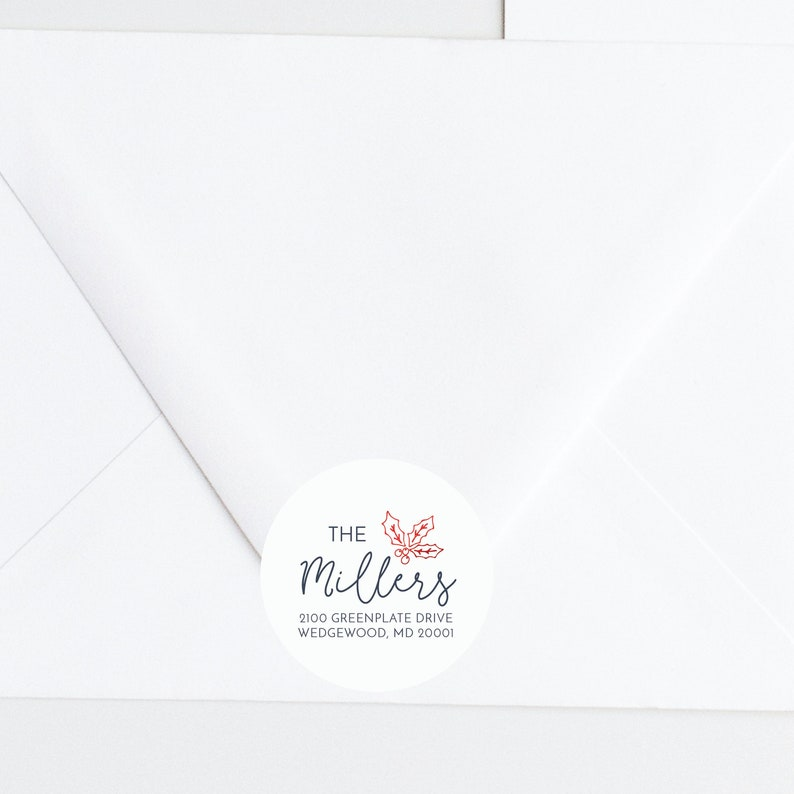 Christmas Card Return Address, Personalized Address Label, 2 inch stickers Merry Christmas Personalized Christmas Card Address Stickers