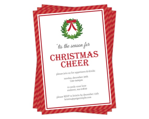 image regarding Printable Holiday Invitation named Xmas Cheer Xmas Invitation, Holiday vacation Celebration