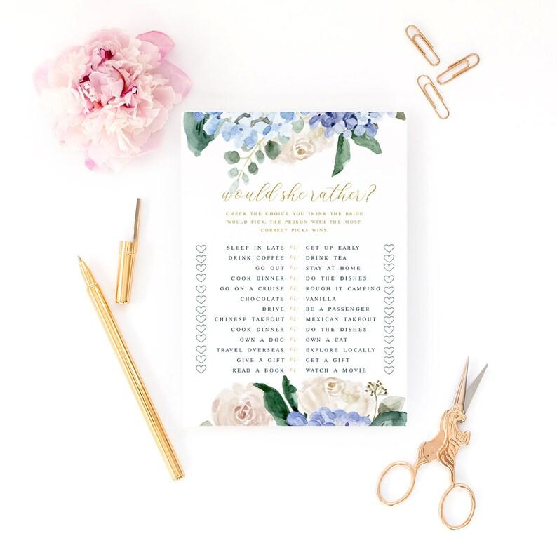 Edit Now Printable Shower Game Bridal Shower Game INSTANT DOWNLOAD Blue Hydrangea Floral Bridal Shower Game Would She Rather?