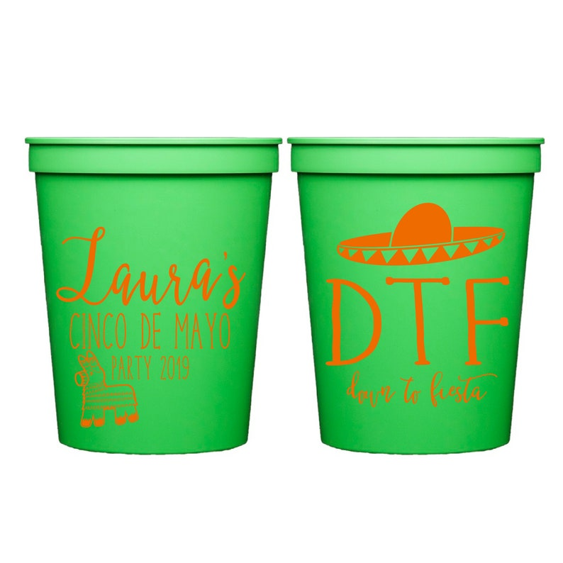 Cinco de Mayo Cocktails Down to Fiesta Personalized Cinco De May Cup Cinco De Mayo Bachelorette Stadium Cups