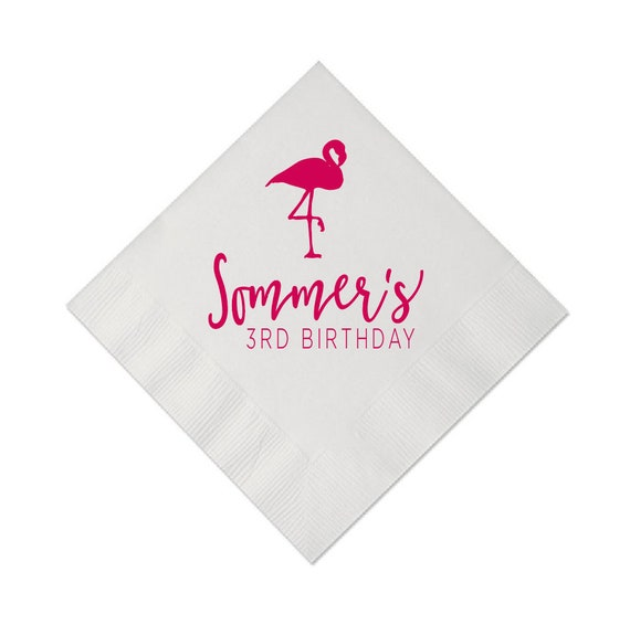 Flamingo Birthday Personalized Napkins