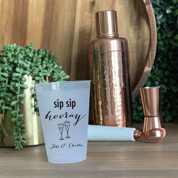 NYE Wedding Sip Sip Hooray Wedding Cups   Bridal Shower  Rehearsal Dinner  Bachelorette Shatterproof Plastic Cups