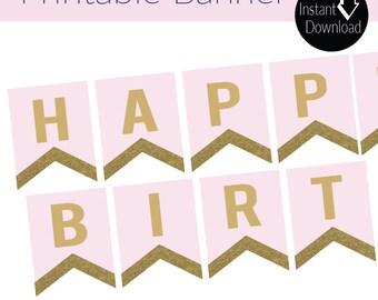 Pink and Gold Glitter INSTANT DOWNLOAD Happy Birthday Banner - Glitter banner - Printable banner - Birthday banner
