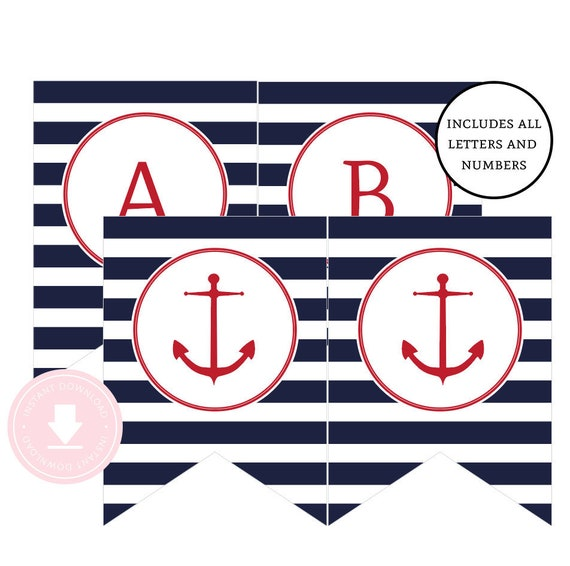 Instant Download Nautical Happy Birthday Banner Red And Navy Nautical Party Nautical Birthday Banner Anchor Banner Boys Nautical Party By Pink Poppy Party Shoppe Catch My Party