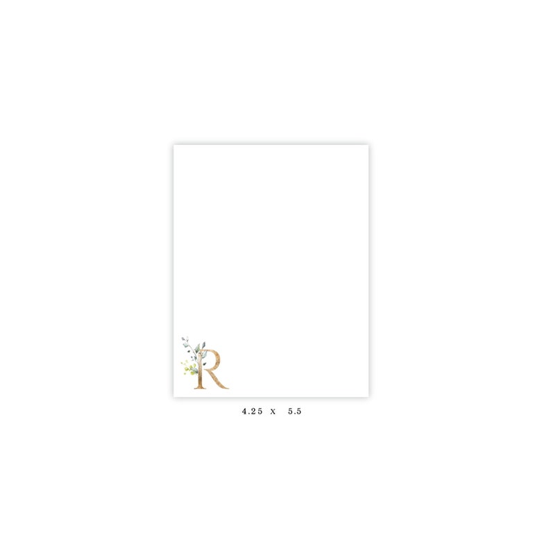 Christmas Gift Hostess Gift Note Pad Personalized Stationery Personalized Note Pad Floral Initial Teacher Gift Note Pad