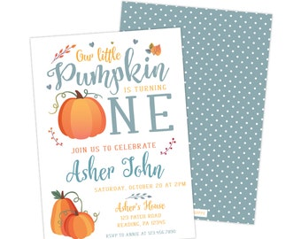 Our Little Pumpkin is One - 5x7 First Birthday Party Invitations - Free Shipping - Fall Birthday - Pumpkin Birthday - First Birthday