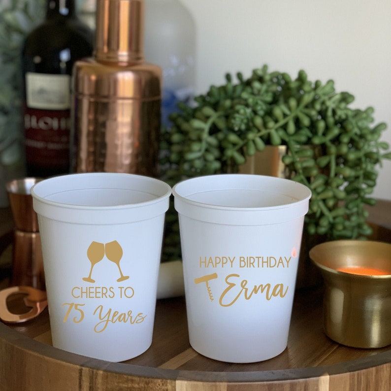 Wine Birthday Personalized Stadium Plastic Cups  Cheers to 40 image 1