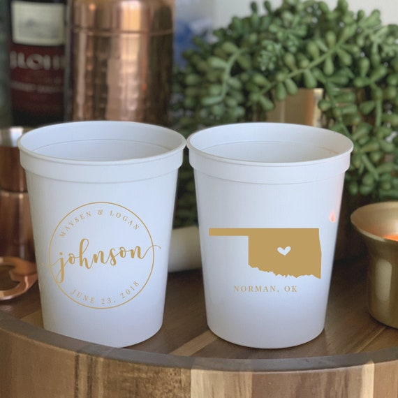 Monogram Cups Bachelorette Cups Plastic Cup Stadium Cups Party Cups Personalized Cups Custom Cups Event Cups Wedding Cups