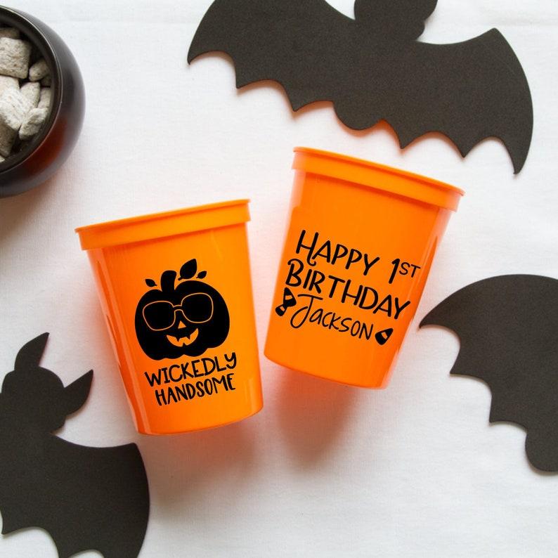 Wickedly Handsome 1st Birthday Personalized Stadium Plastic Cups Halloween Birthday Birthday Favor Spider Birthday Stadium Cups