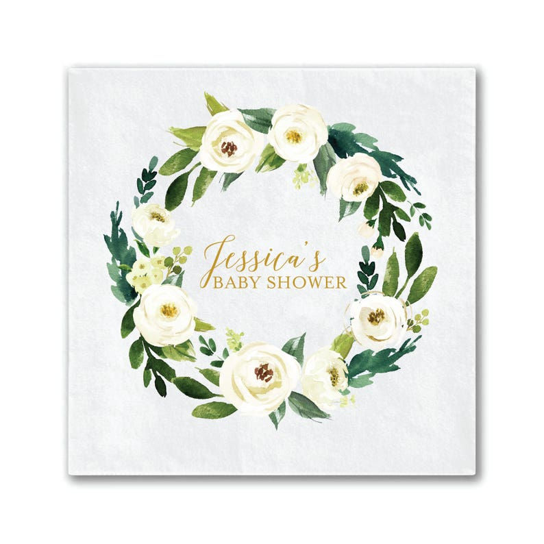 Floral Baby Baby Shower Decor Personalized Napkins Custom Baby Shower Napkin Winter White Floral Baby Shower Napkins Full Color Napkins