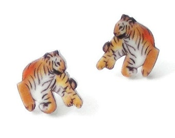 Tiger earrings, tropical, big cat, jungle,