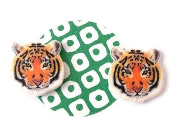 Tiger Earrings, big cat studs, animal jewellery