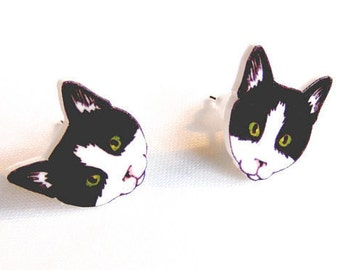Cat Earrings original illustration kitten studs cat lady