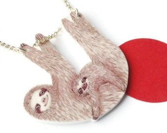 sloth necklace mummy and baby hanging sloths pendant