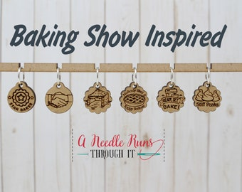 Baking Show inspired Stitch Markers for Knitting or crochet, Ready, set, bake stitch Markers for Knitting and Crochet, Star Baker