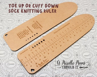 Toe Up or Cuff Down Sock Knitting Ruler, Kitchener Stitch Instructions, Stretchy Bind Off instructions. Knitting Tool for socks