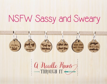 Sassy & Sweary NSFW (not safe for work) Stitch Markers for Knitting or crochet, Sweary stitch Markers for Knitting. Sassy Progress Keepers