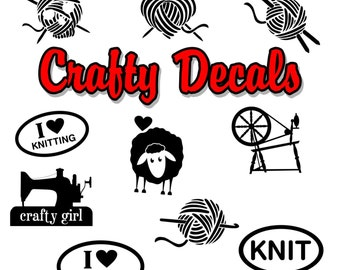 Crochet Decal I/'m A Knit-Wit Yarn And Needle Car Truck SUV Craft Window Sticker