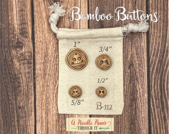 B-112 Wood Bamboo buttons, buttons for knits, knitting and crochet sweater buttons. sewing notions, button closure.Bee Sewing buttons bamboo