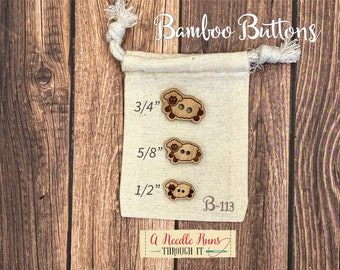 B-113 Wood Bamboo buttons, buttons for knits, knitting and crochet sweater buttons. sewing notions, button closure.Bee Sewing buttons bamboo