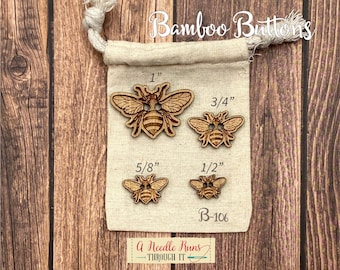 B-106 Wood Bamboo buttons, buttons for knits, knitting and crochet sweater buttons. sewing notions, button closure.Bee Sewing buttons bamboo